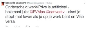 Eigen tweet over zelfde blog van Frank Van Massenhove